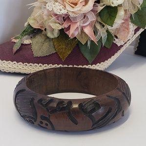 Vintage Carved Wooden bangle Bracelet